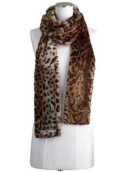 Leopard Faux Fur Long Scarf  by Rachel Zoe
