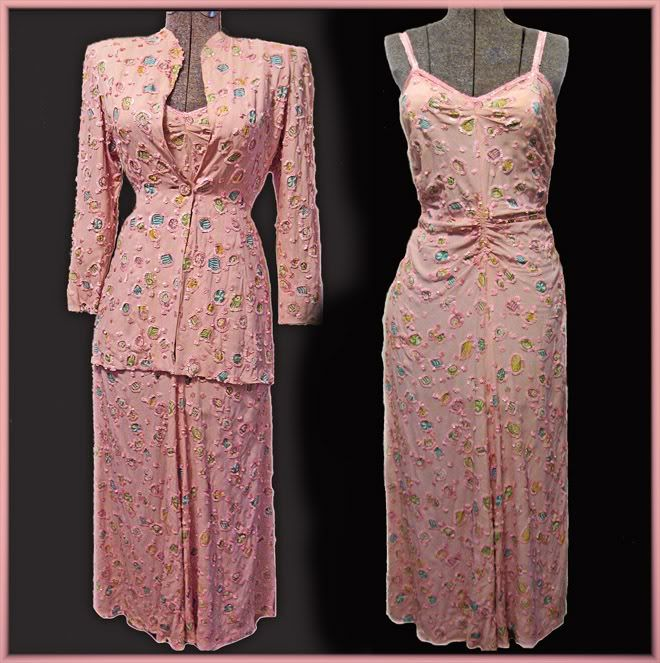 Vintage beading. The sharp shoulders and rouching probably put this in the 40's, but it would work fabulously today!