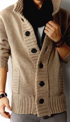Men's Shawl Collar Woolen Knitwear Cardigan Sweater Coat Jacket 2 ...