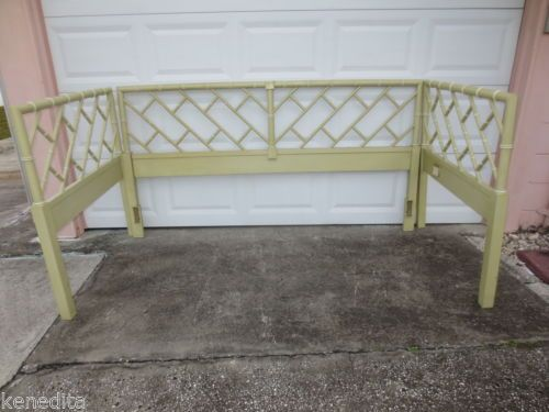 RARE Chinese Chippendale TWIN DAYBED Faux Bamboo Size 3 Headboards
