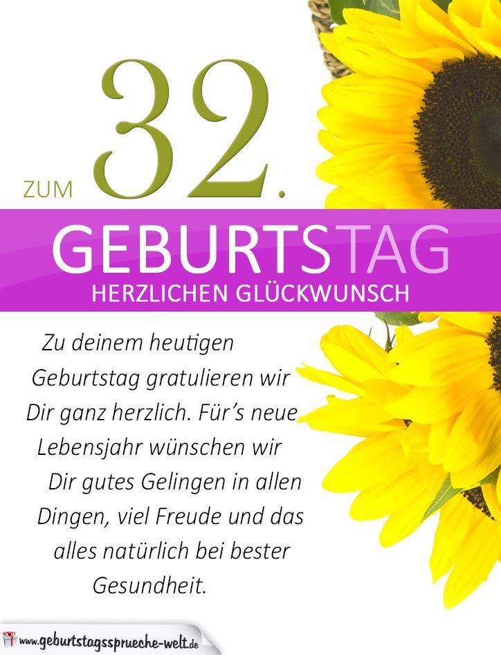 Schlichte Geburtstagskarte Mit Sonnenblumen Zum 32 Geburtstag Jpg
