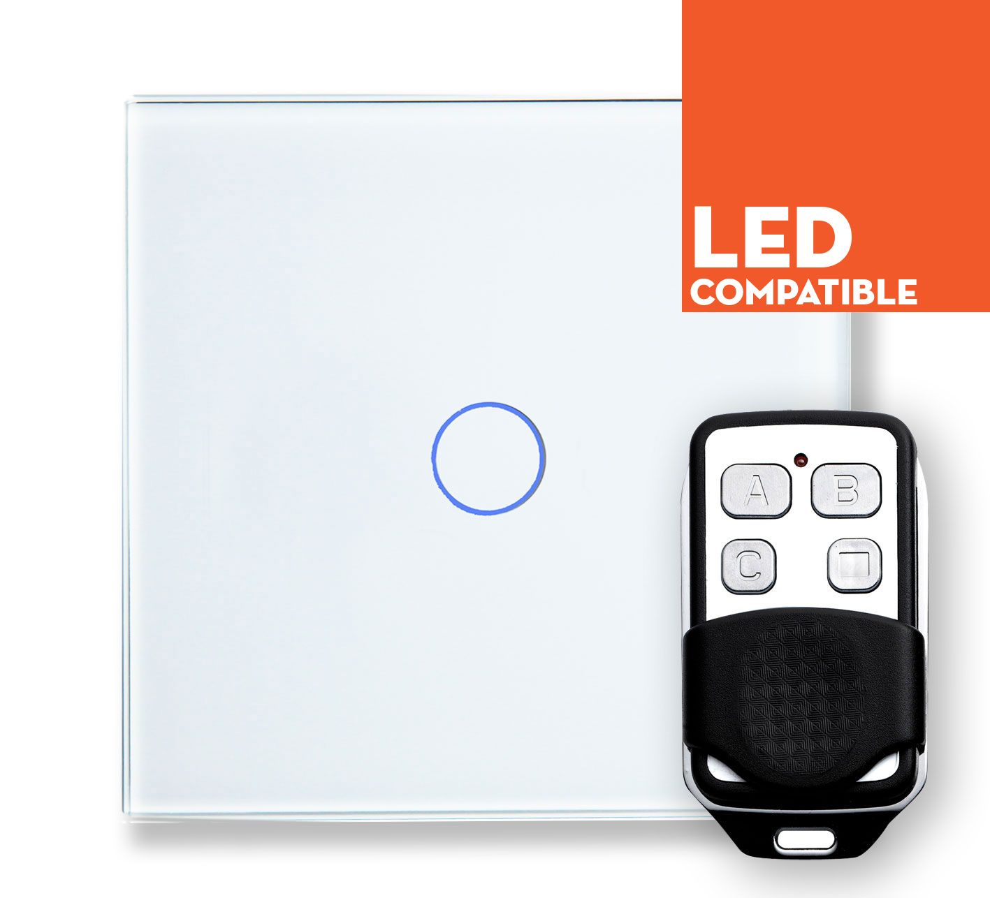 RTS2040DL LED Dimmer Touch & Remote Light Switch 1 Gang White Glass ...