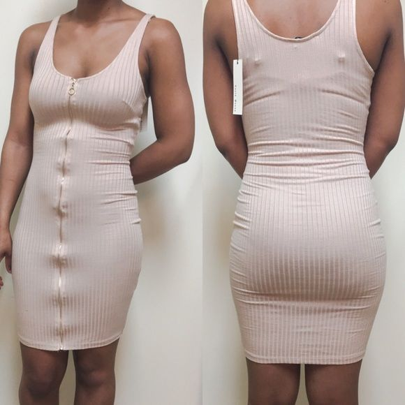 TEMP SALE |❤️Zipper Midi Dress *Taupe 96% Rayon *4% Spandex  ❌30% DISCOUNT APPLIED. PRICE FIRM❌ Dresses Midi