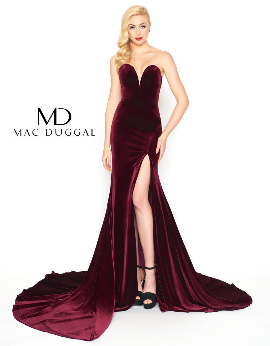 869d9b166c4 Velvet form fitting plunging strapless gown with high leg slit and wide  sweep train.