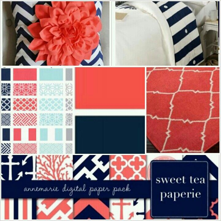 Grey Walls, Navy With Coral Accents Part 65