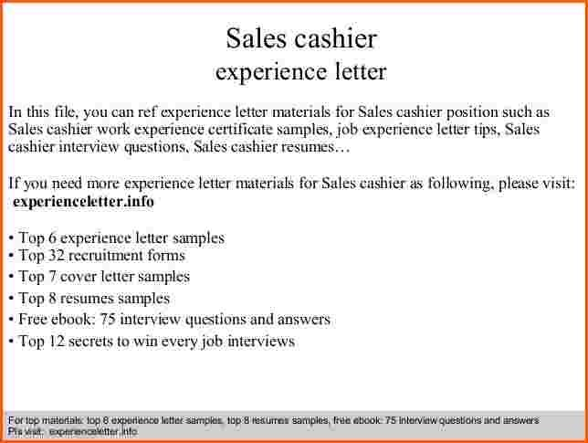 Cover Letter Cashier Experience Sales Denial Sample  Home Design