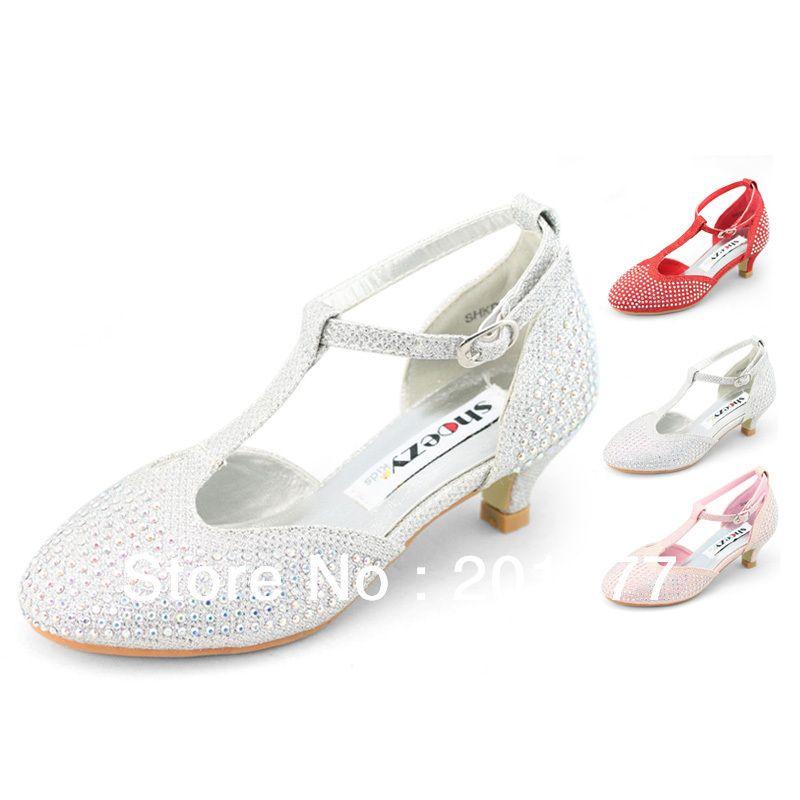Flower Girls Kitten Low Heels Mary Janes Diamond T Strap Pumps Dance Kids Shoes