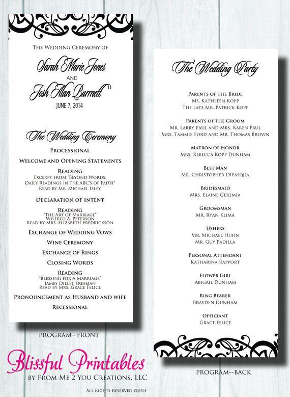 Printable Wedding Program DIY Modern Wedding by