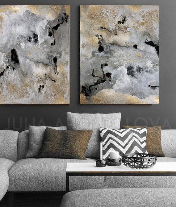 64 Inch Extra Large Wall Art Gray Gold Black Abstract Canvas Art