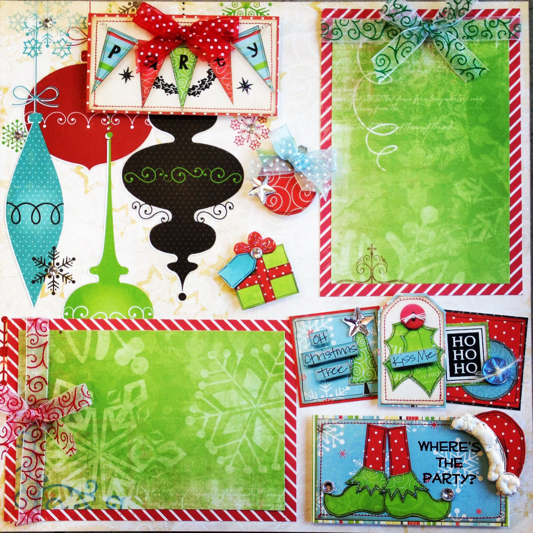 Scrapbook ideas with ribbon - Christmas Scrapbook Layout Using Bo Bunny Paper And Stickers We Accented With Ribbon From Mayarts