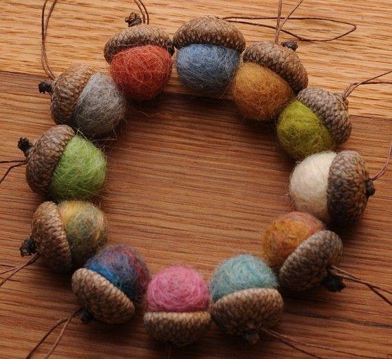 I love this wreath! felt balls in real acorns | Felted wool acorns, Felted acorns, Wool acorn