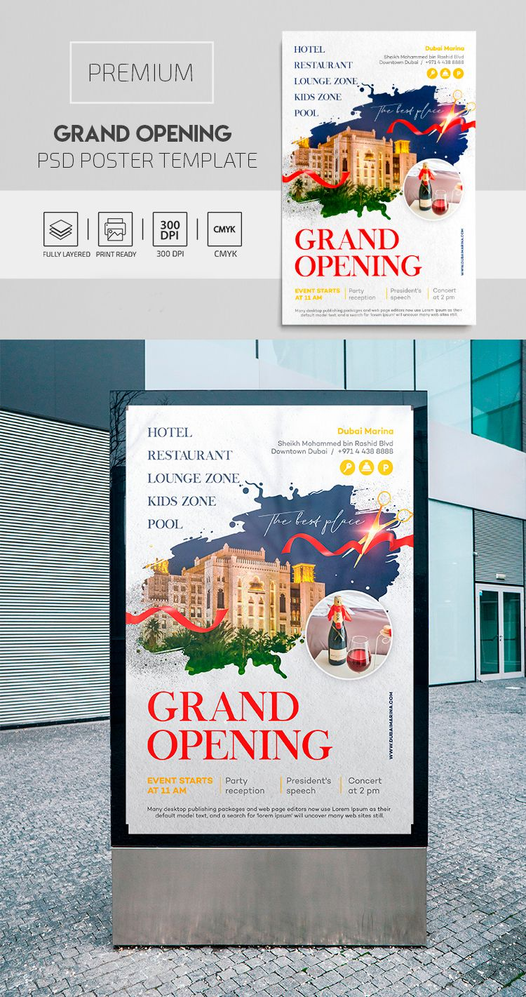 Grand Opening Premium Psd Poster Template By Elegantflyer Psd Poster Template Poster Template Grand Opening