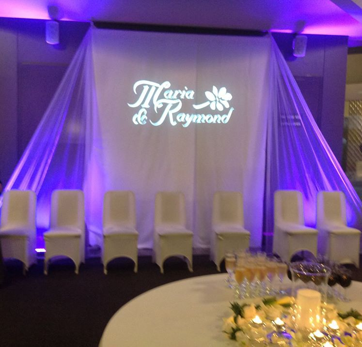 Wedding reception backdrop with bride and groom\'s names in lighting ...