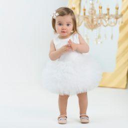 Junona Baby Girls White Tulle Dress With Bow Childrensalon