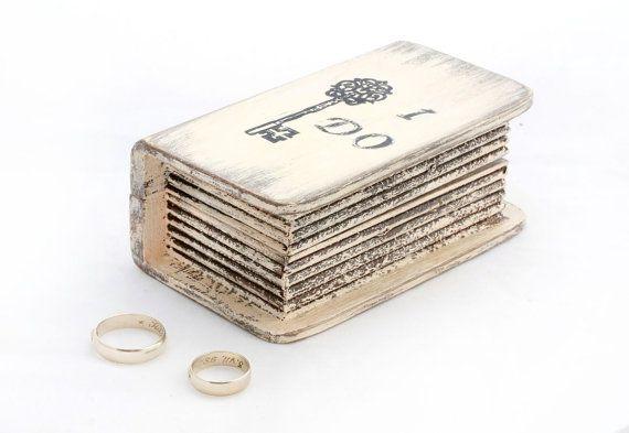 Wedding Ring Bearer Pillow , Beige Ring Bearer Box,  Wedding Box, I Do Personalized Ring Bearer  box