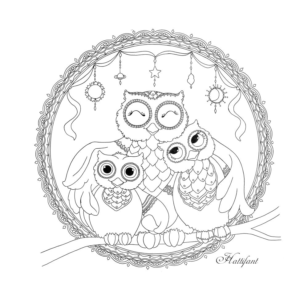 Fr free coloring pages for owls - Owl Family Love Coloring Page Hattifant