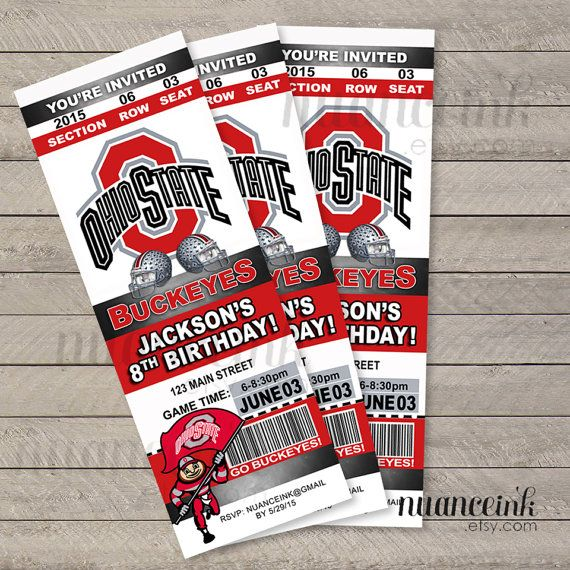 Ohio State Birthday Party Ticket Invitations Printed Or Digital