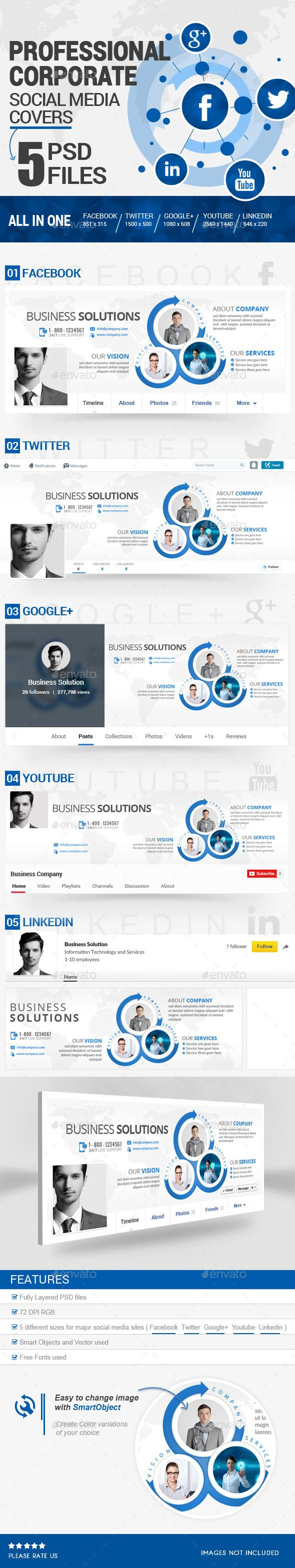 Social Media Covers Kit Social Media Template Template And Fonts