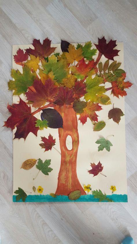 Herbstcollage bl tter sammeln trocknen lassen und dann for Bastelideen herbst kleinkinder