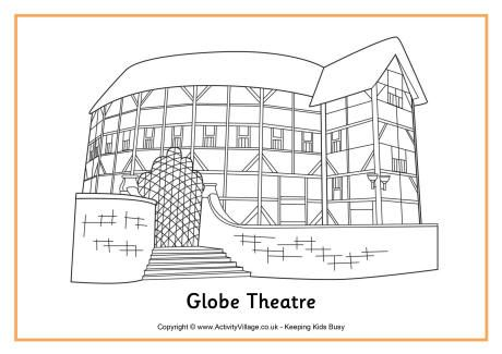 Globe Theatre Colouring Page Globe Theater
