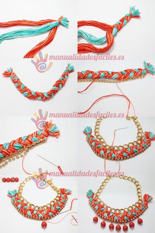 f09775ebef0b Como hacer un collar tejido con cadenas y abalorios