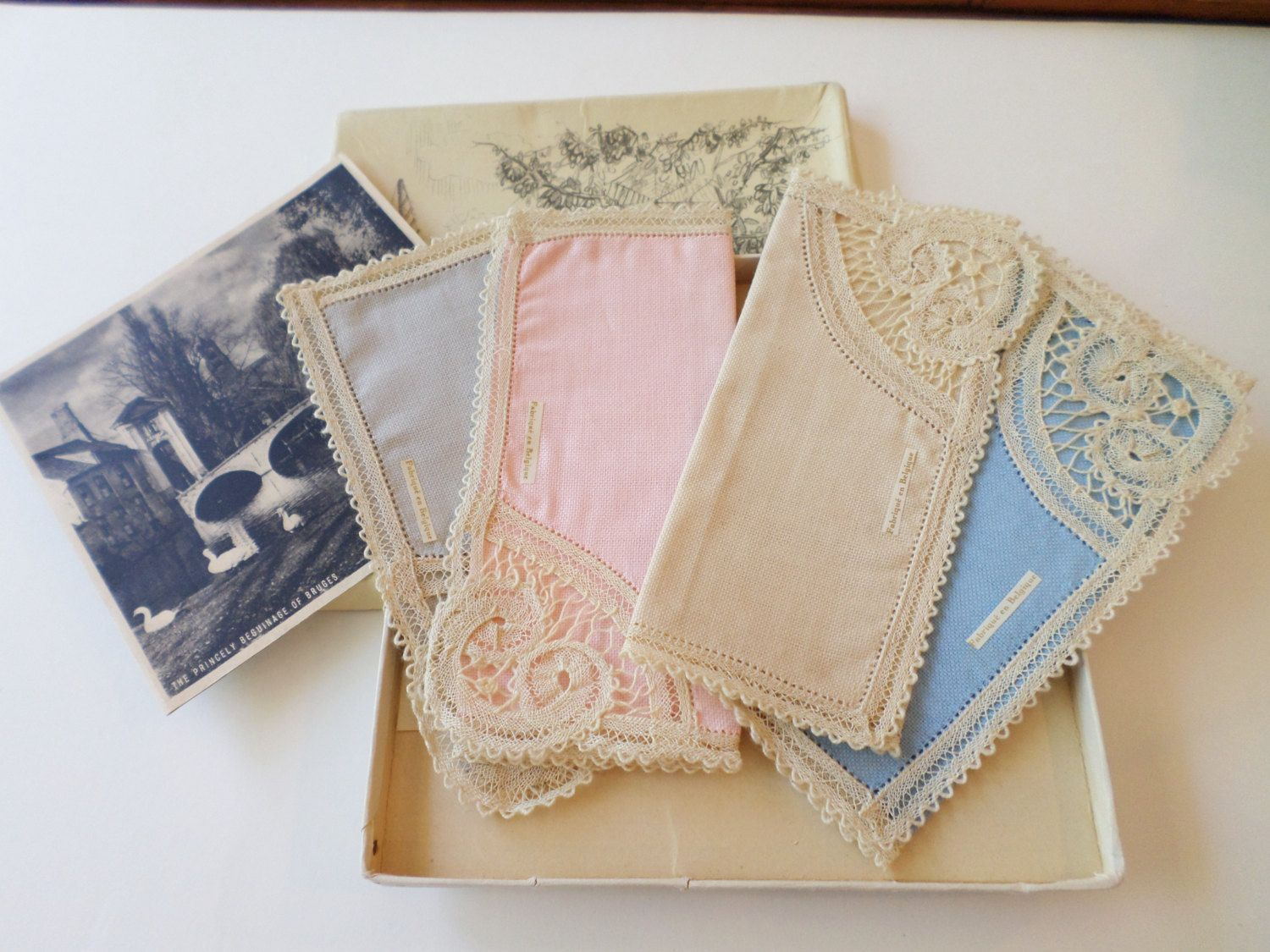 Vintage NIB from Belgium, Set of Four Different Color Handkerchiefs. by Bestintreasures on Etsy