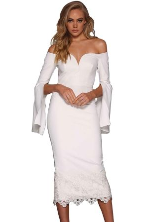 81a096b3bf7 White Split Bell Sleeve Off Shoulder Midi Dress in 2019