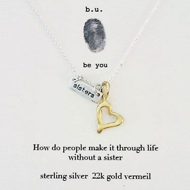 9505cd48623f9 b.u. Sister Heart Necklace | Sisters Jewelry | Jewelry, Sisters by ...