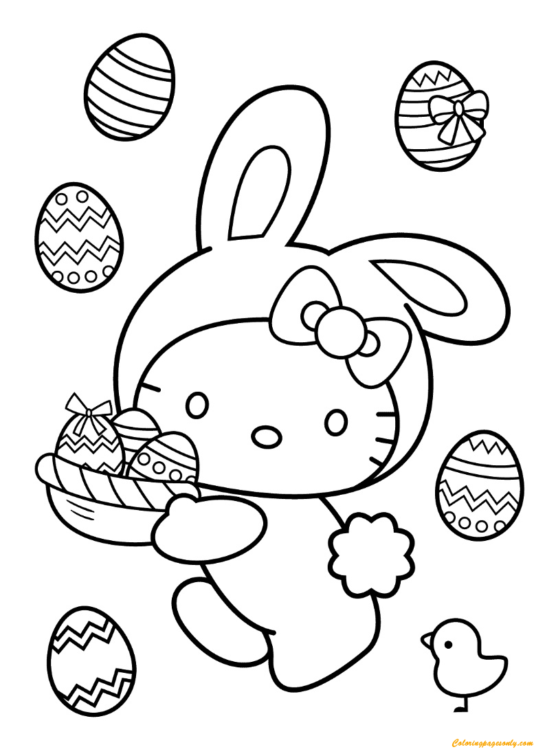 Hello Kitty Easter Pictures To Color