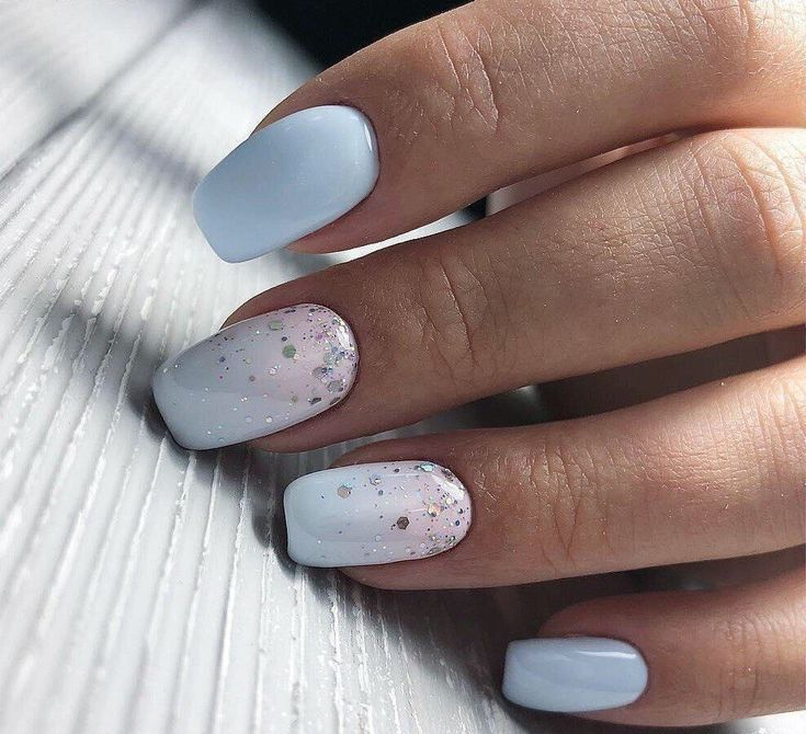 Uñas Azul Cielo Con Blanco Y Chispas Diseños De Uñas Pinterest
