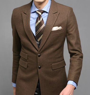 Click To Buy Custom Made Brown Groomsmen Tuxedos 2 Piece Slim Fit Mens Wedding Prom Dinner Suits Groom Wear B Wedding Suits Men Brown Suits Wedding Suits