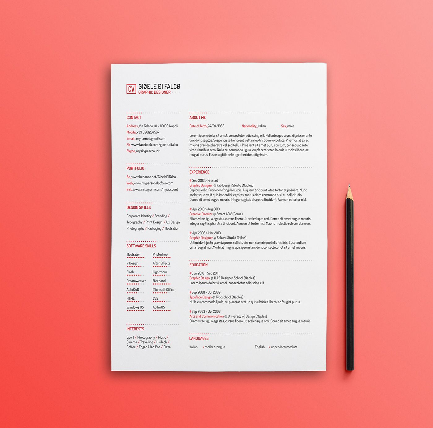 Pin By Daniele Grotto On Graphic Design    Resume