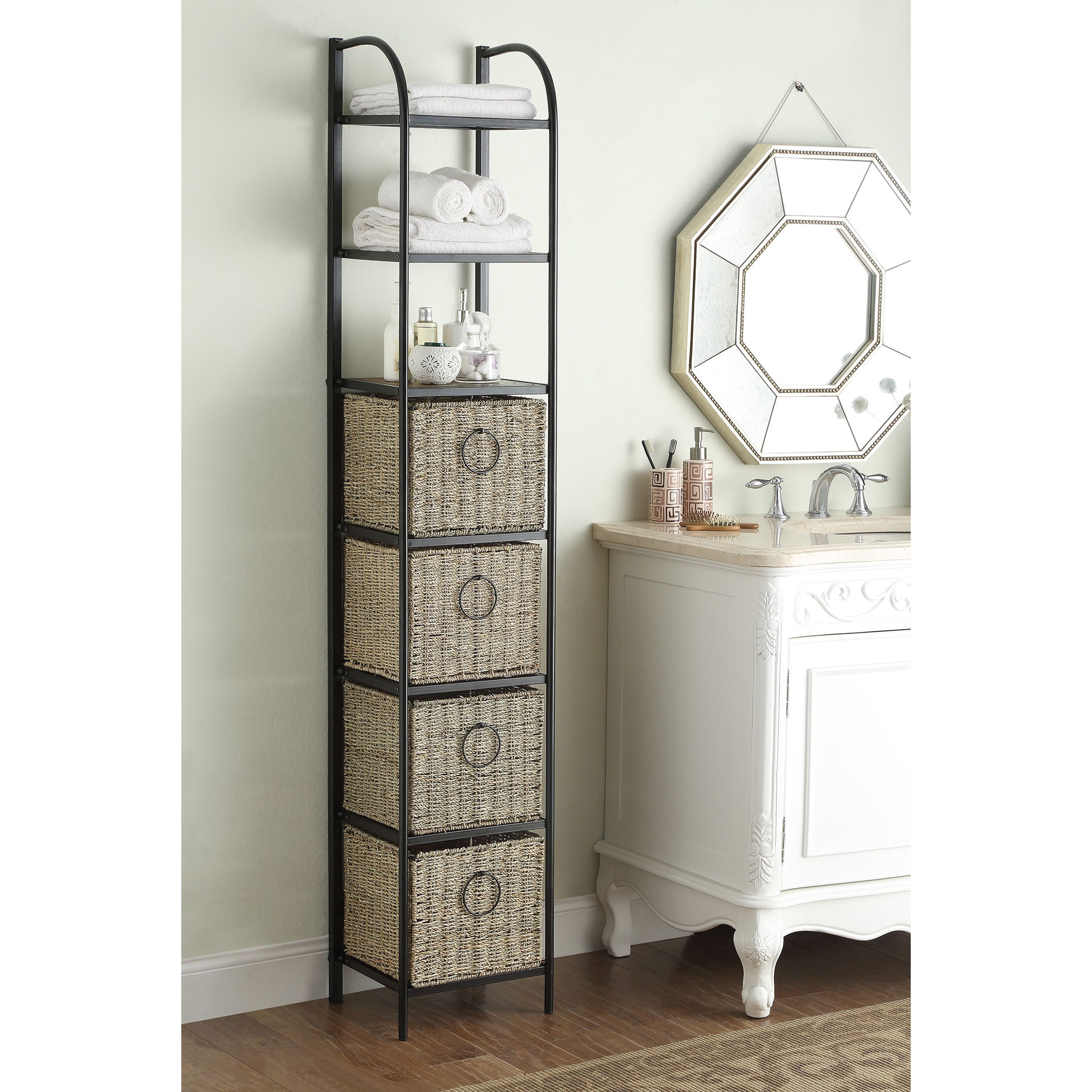 Windsor Black/Brown Metal/Slate/Wicker Bookcase with Baskets ...