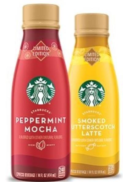 Starbucks Peppermint Mocha And Smoked Butterscotch Latte