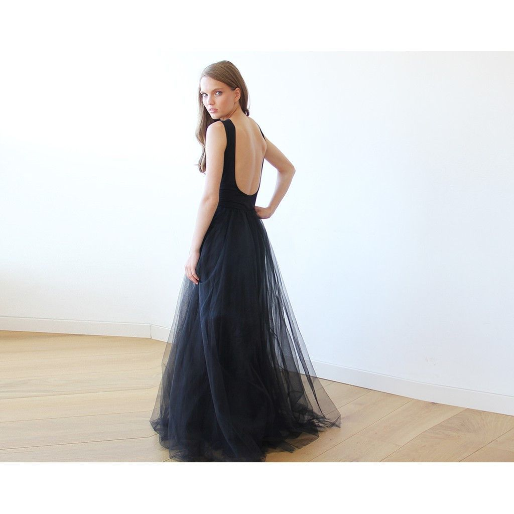 Backless black sleeveless tulle maxi dress products pinterest