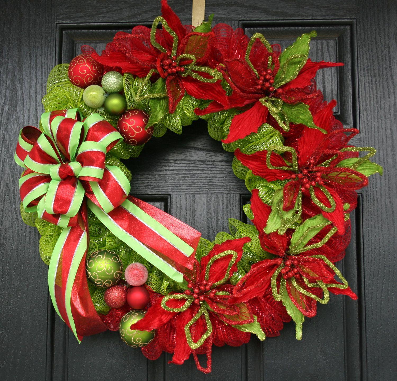Modern Traditional Christmas Deco Mesh Wreath.