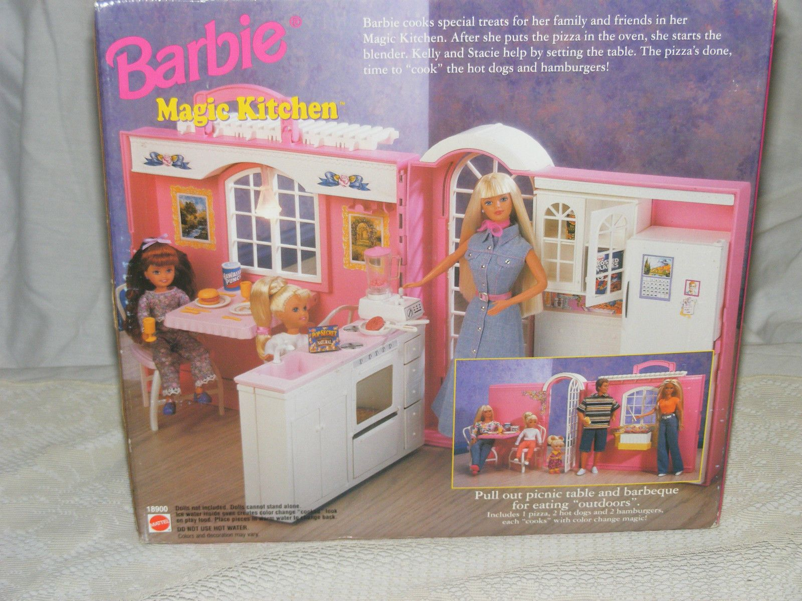 1998 Barbie Magic Kitchen Playset - Picnic Table and Barb-Q on outside wall