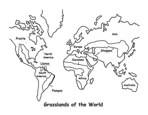 World Map Map Grasslands Outline In World Map Coloring Page - map coloring pages continents
