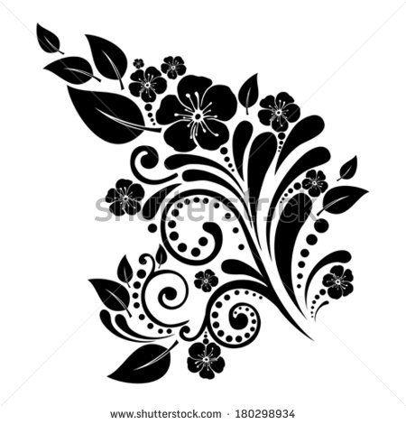 Collection Of Flower Silhouettes Identificación de foto en stock ...