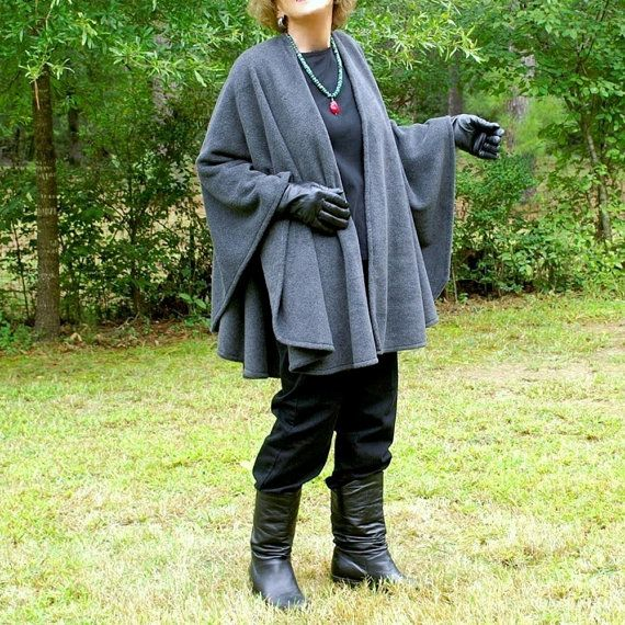 Charcoal Gray Anti Pill Fleece Wrap Poncho by YoungbearDesigns