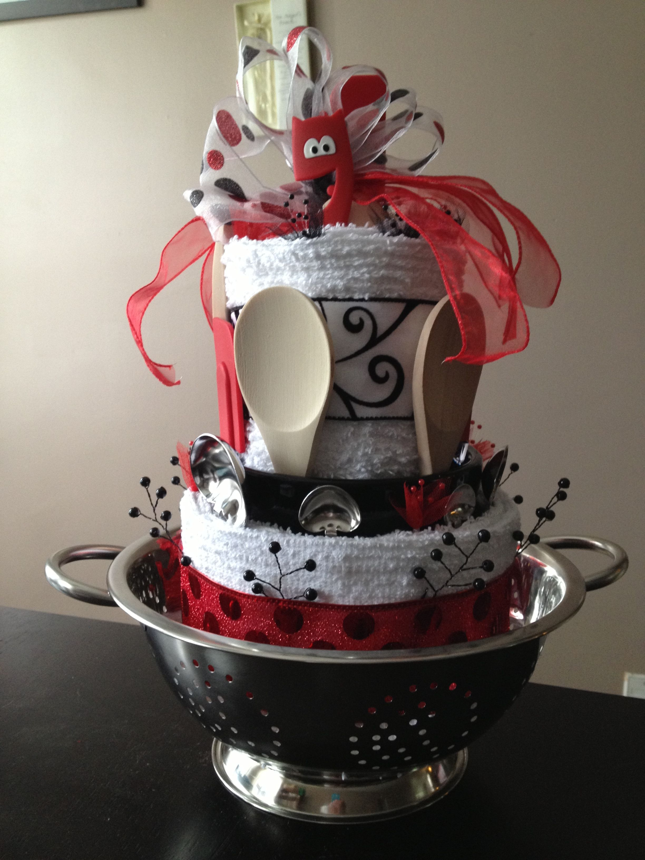 Kitchen Towel-utensil cake that I made for a bridal shower ...