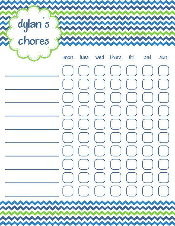 Chore Chart, Reward Chart, Chevron, Printable, Personalized Babies