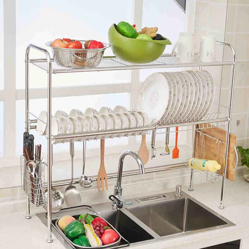 2 Tier Kitchen Stainless Steel Dish Drying Rack Drainer Dryer