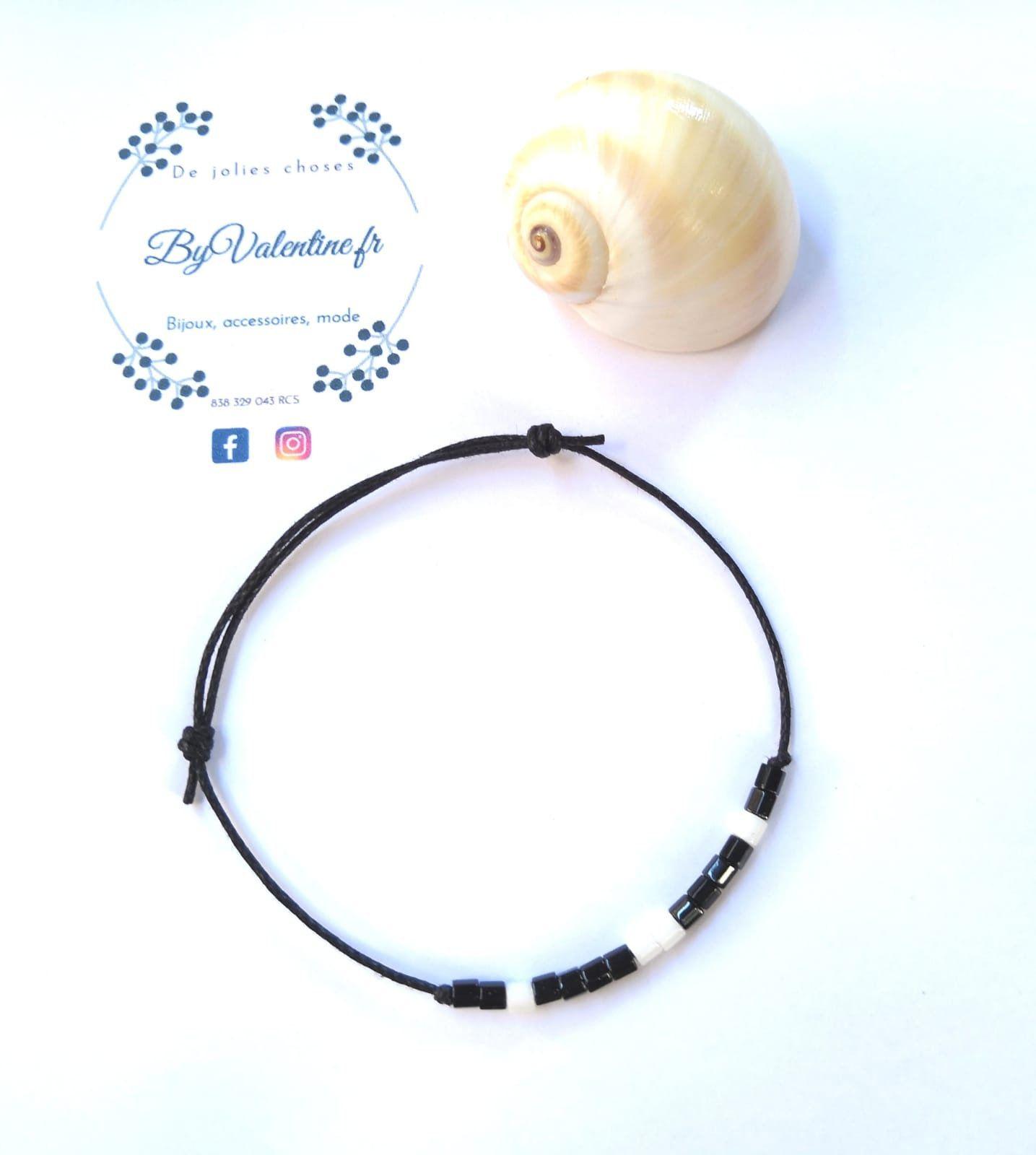 Bracelet Tibétain Amitié fil noir avec Perles Nacre de Coquillage BB20763-FS5B