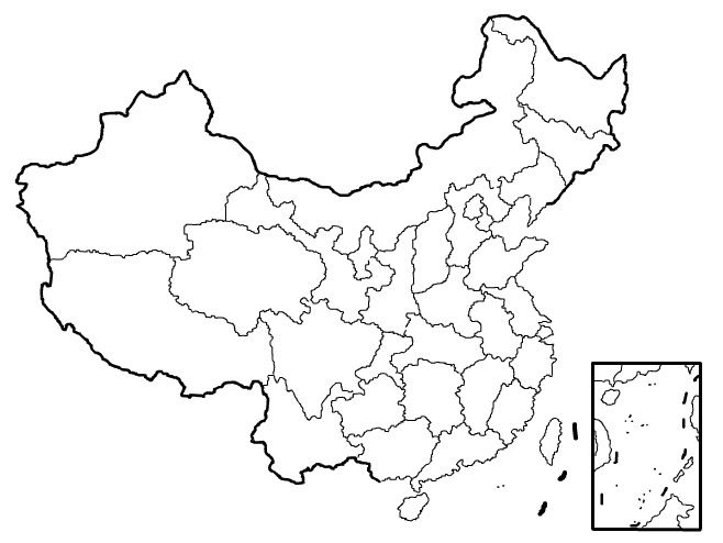 Blank printable blank map of China w/ provinces | 2012 2013 school