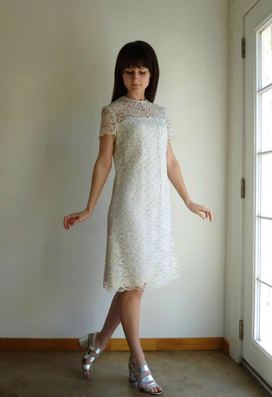 White Lace Dress Silver Sparkle 60s Mod Vintage Wedding Dress Etsy Lace White Dress Etsy Wedding Dress Dresses [ 1500 x 1029 Pixel ]