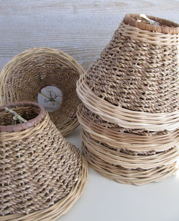 Set Of Six Woven Rattan And Straw Chandelier By Billysbungalow 140 00