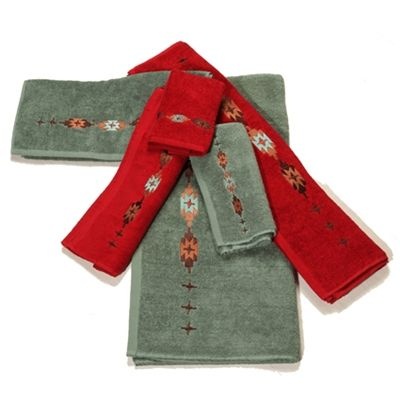 Delectably Yours Com Embroidered Navajo Southwestern Bath Towels Turquoise Or Red Patterned Bath Towels Towel Set Rustic Bedding