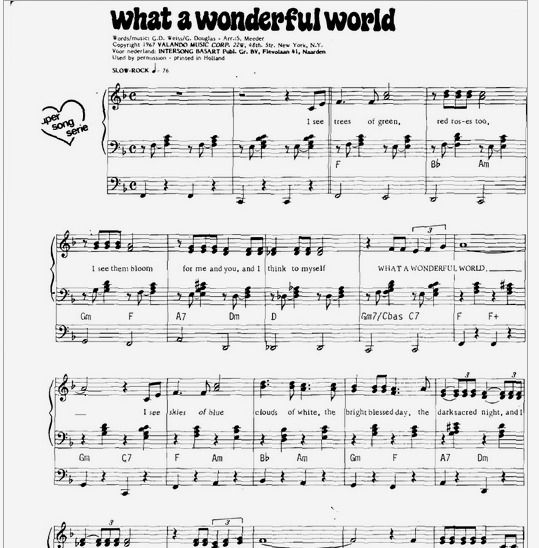 Beautiful Advanced Piano Sheet Music: What A Wonderful World By Luis Armstrong Free Piano Sheet