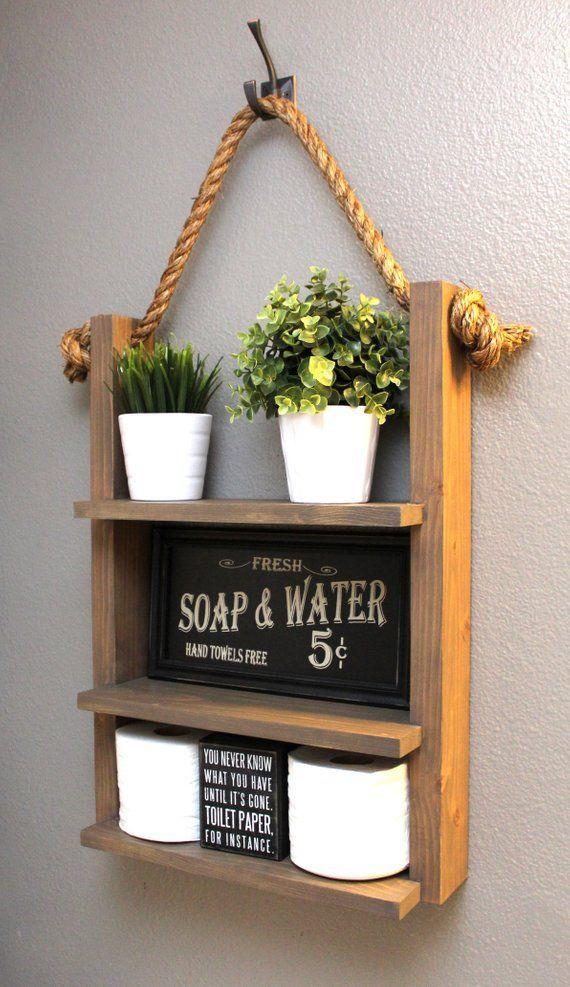brown bathroom shelving ideas | Bathroom Farmhouse Ladder Shelf, Brown Walnut Large Modern ...